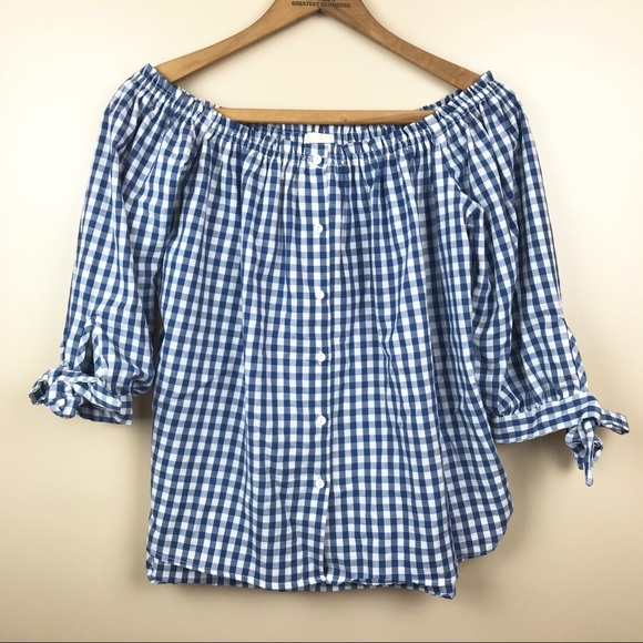 91fed9b9a6f Caution To The Wind Tops | Gingham Off Shoulder Blouse | Poshmark